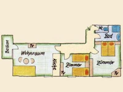 Hotel Schloss Fernsteinsee Grundriss Appartement Loreablick